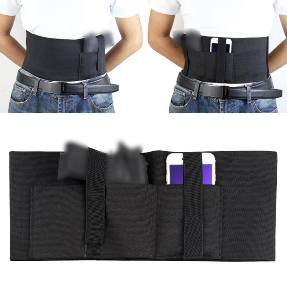 Pistolera táctica de banda para el vientre, pistolera oculta, pistola elástica, cinturón, cintura para cinturón Invisible al aire libre, bolsa de caza E8C5