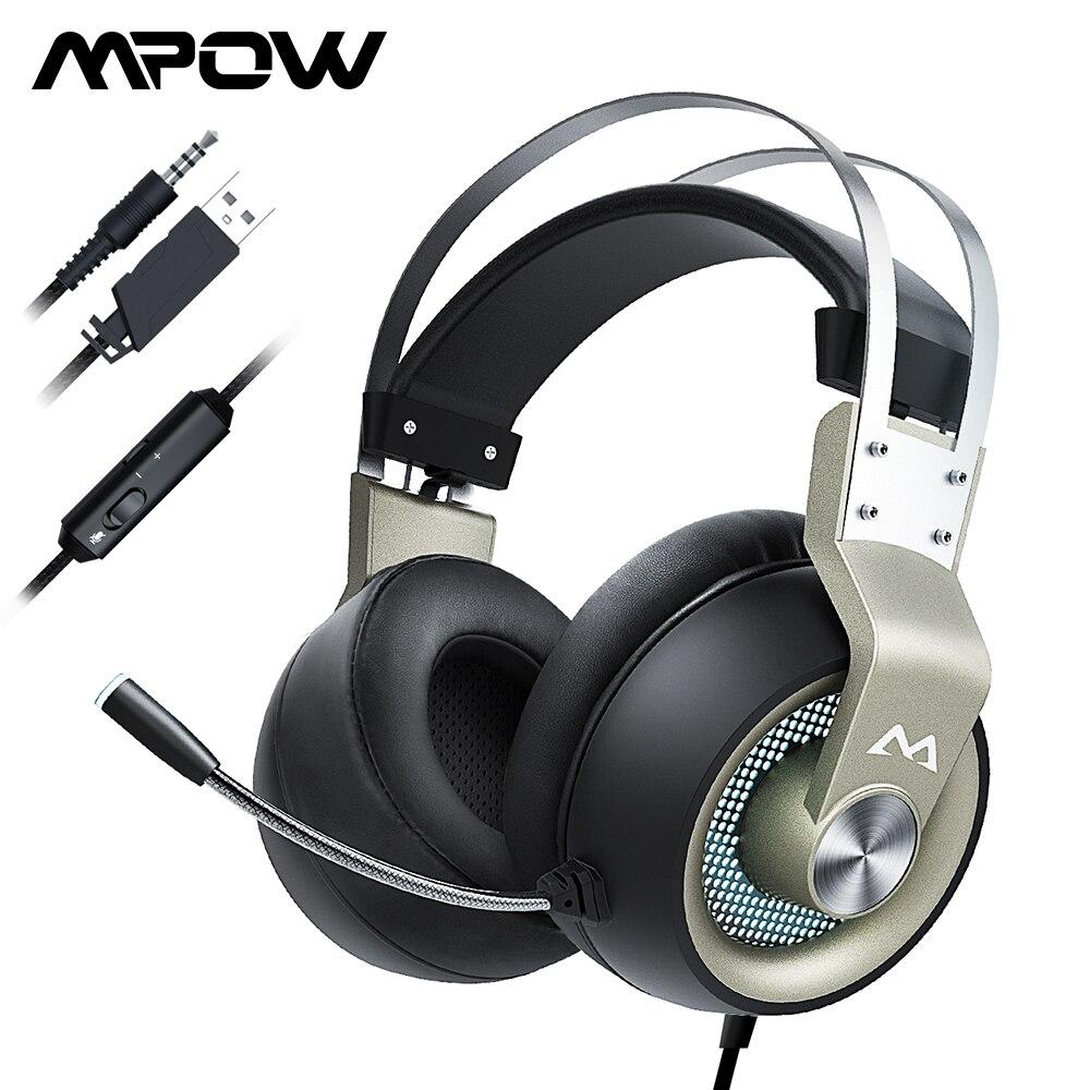 Mpow EG3 Pro auriculares Gaming con cable auriculares USB de 3,5mm con micrófono en línea Control de volumen para ordenador