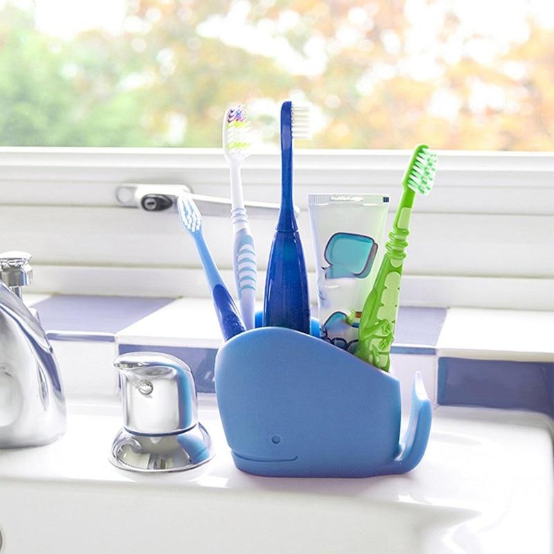 Soporte de silicona para cepillos de dientes de ballena para niños, cepillo de dientes de baño para niños, asistente de almacenamiento de pasta dental. Azul