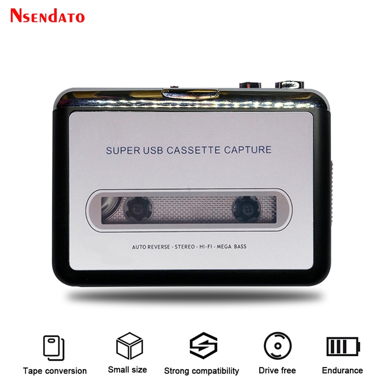 USB Cassette Capture Radio Player Portable USB Cassette Tape to MP3 Converter Capture Audio Music Pl