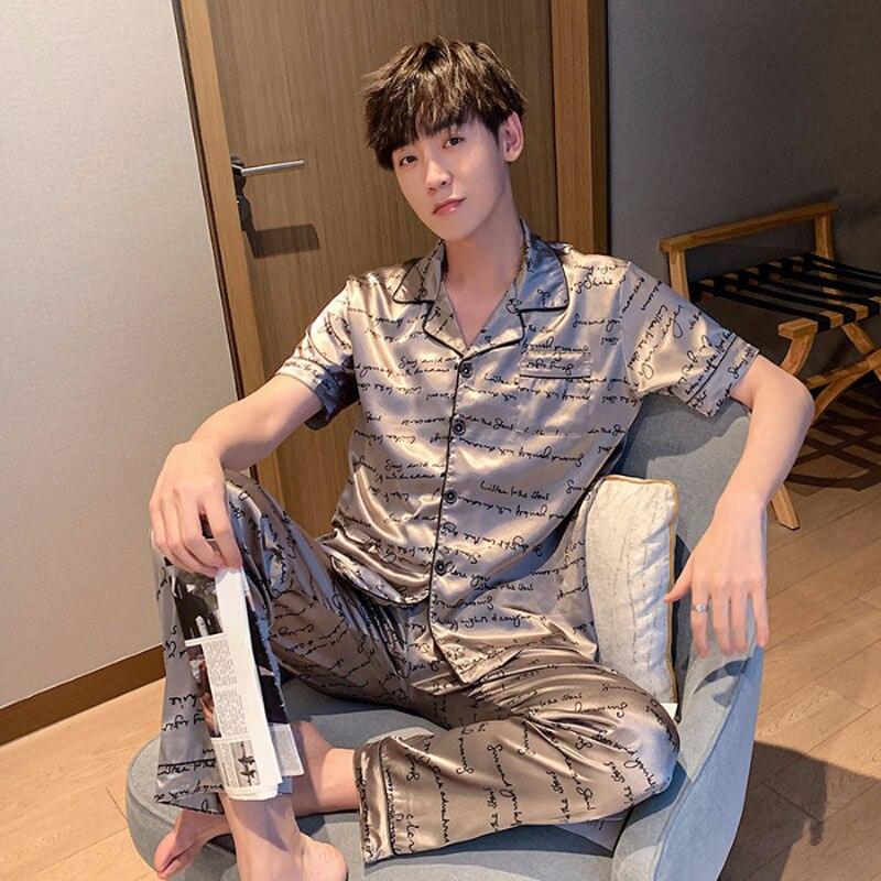 Плюс Размер M-5XL Мужчина Пижамы Весна Лето Пижама С короткими рукавами Пижама Комплекты Шелк Атлас Дом Одежда Ночное белье