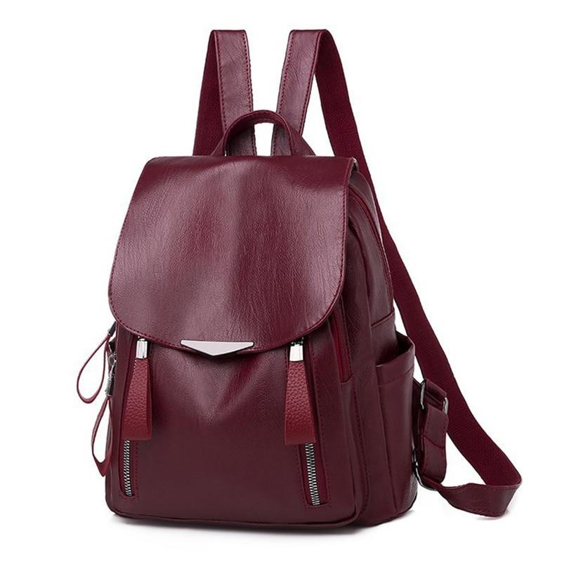 Luxury Designer Women Travel Backpack High Quality Soft PU Leather Women Backpack Fashion School Bac
