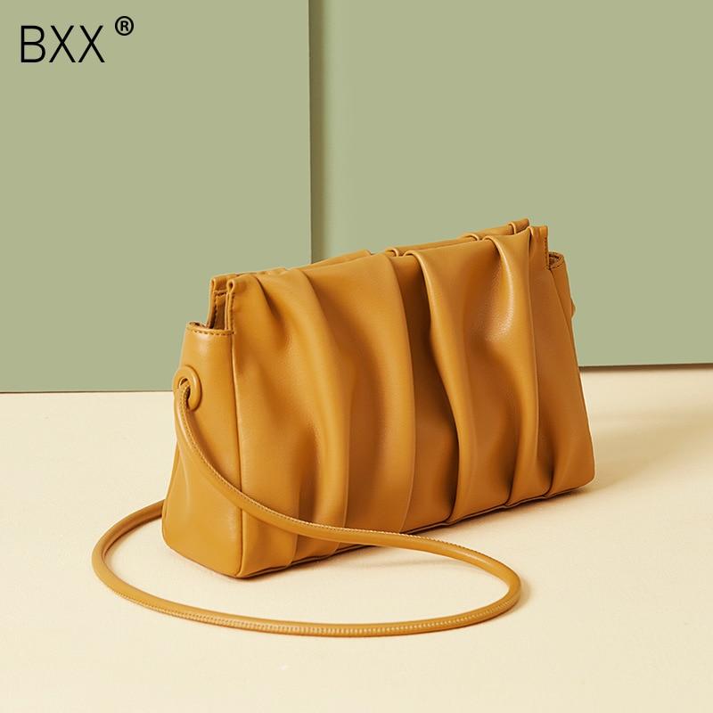 [BXX] Genuine Leather Crossbody Bags For Women 2021 Spring Fashion Shoulder Messenger Bag Lady Travel Purses and Handbags HK582