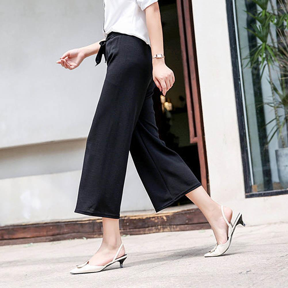 Fashion Women Stripe Loose Straight Wide Leg Drawstring Pants Ninth Trousers