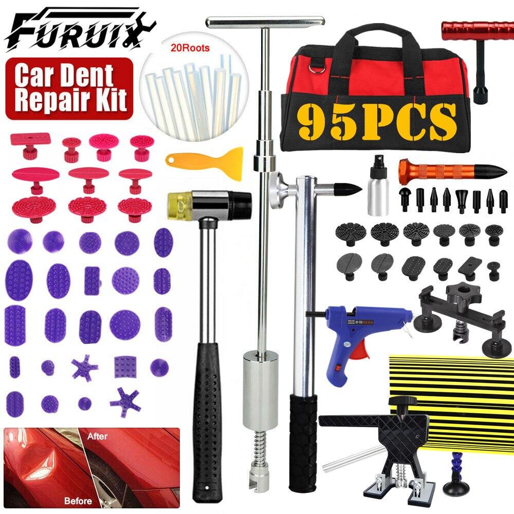 FURUIX 95xRepair Tools Car body remove Tools Paintless Dent Puller Lifter PANEL Removal Glue Gun Repair Tools Kit