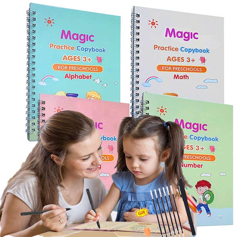 New 2021 Sank Magic Book Magic Copybook Reusable Copybook Handwriting Books for Kids to Write English Numbers and Letters