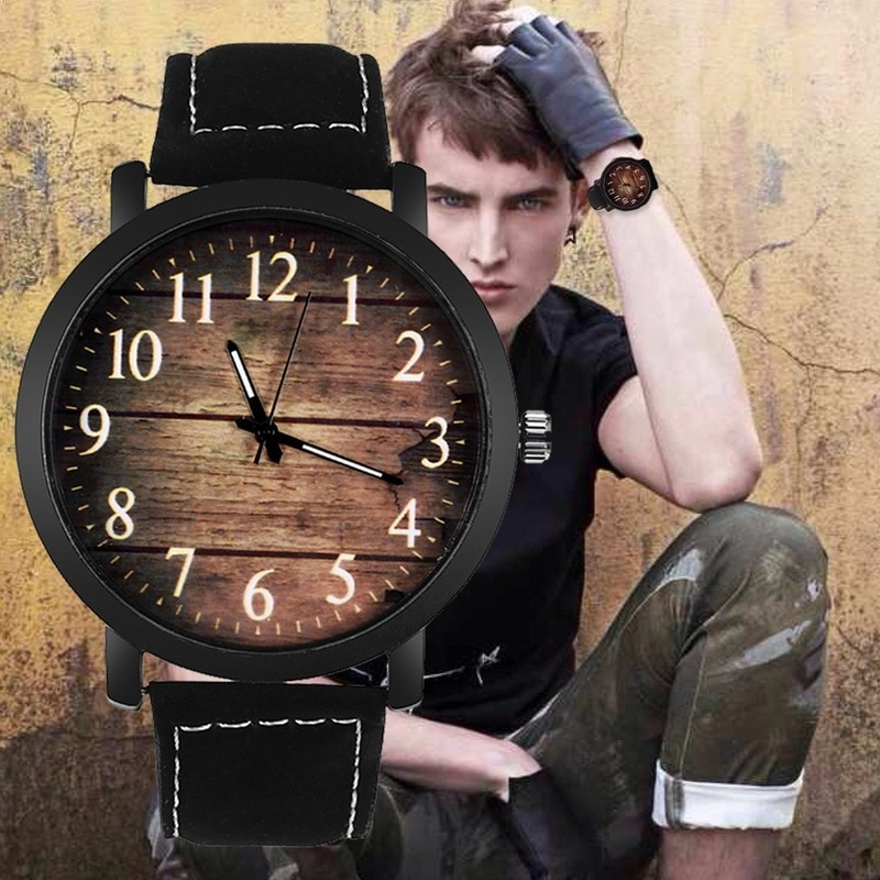 Watch Fashion Wood grain dial Casual Leather Quartz Watch Men Watches Luxury Wristwatch Hombre Hour Male Clock mreurio luxury men s watch minimalist ultra thin stylish leather quartz men wristwatches big fashion dial masculine male clock