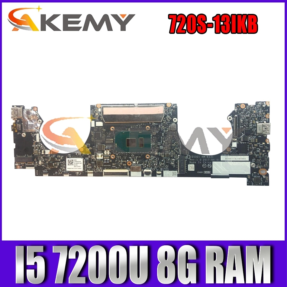 Akemy DS321 NM-B331 اللوحة لينوفو IdeaPad 720S-13IKB اللوحة المحمول CPU I5 7200U 8G RAM 100% اختبارات العمل