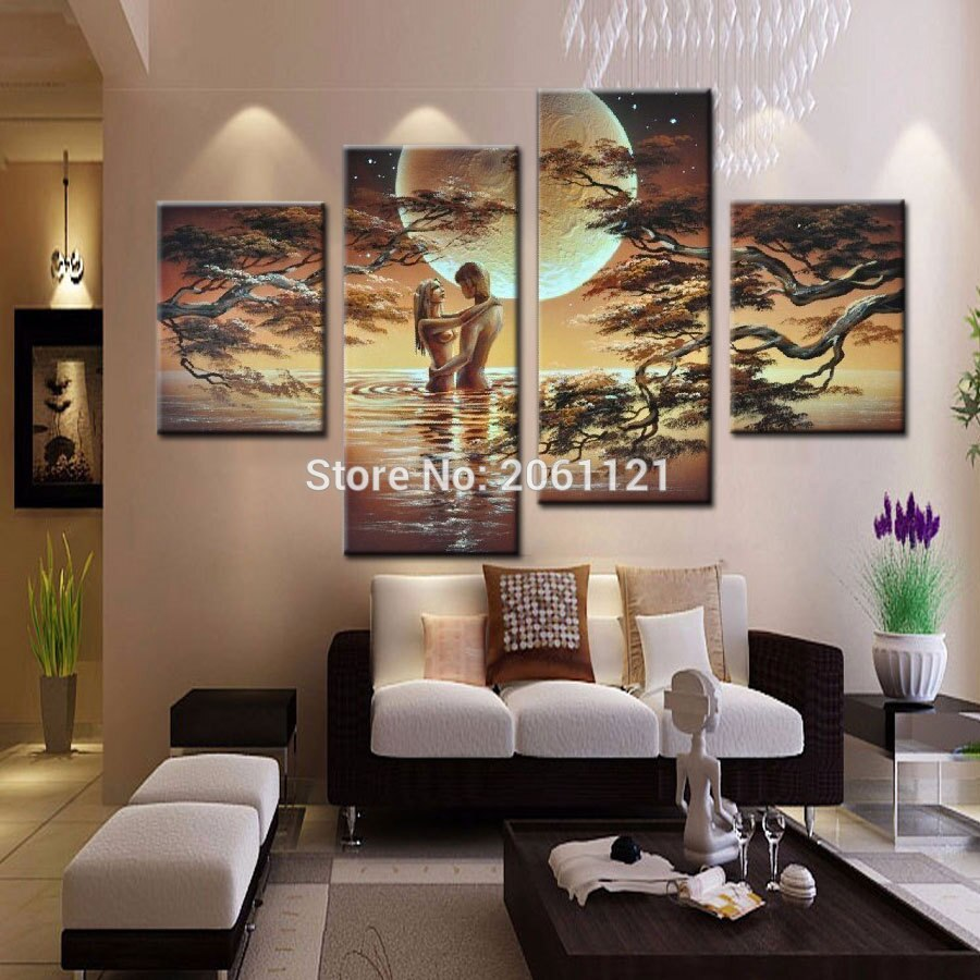 handmade Abstract Oil Painting On Canvas nude Lover in the water Modern Art Home Decoration 4pcs/set Free Shipping