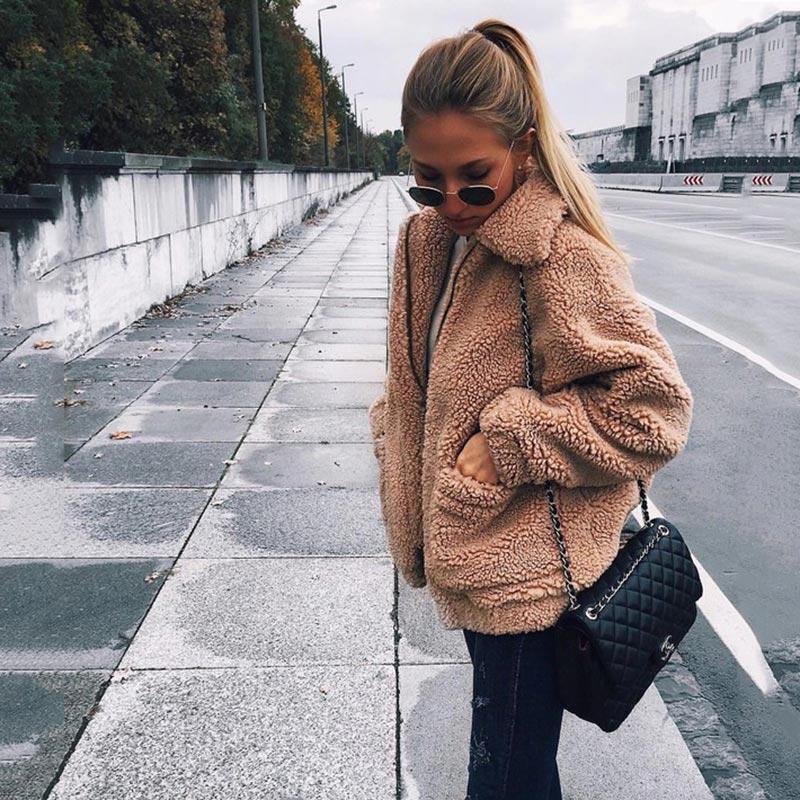 Autumn winter jacket female coat 2020 fashion korean style plus size women teddy fur coat female casual jacket woman pusheen