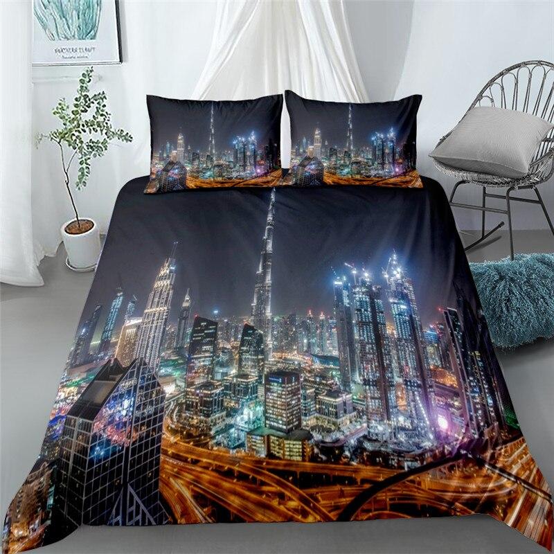 Crepúsculo mega ciudad 3d ropa de cama de Reina rey doble completo...