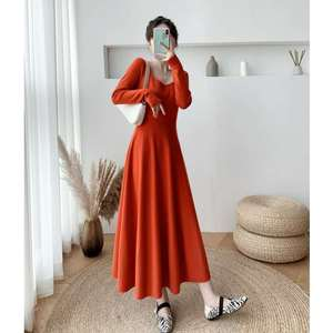 Sexy square-collar low-cut dress 2020 Autumn fashion new long-sleeved slimming body slimming retro knee-length A-line dress tren