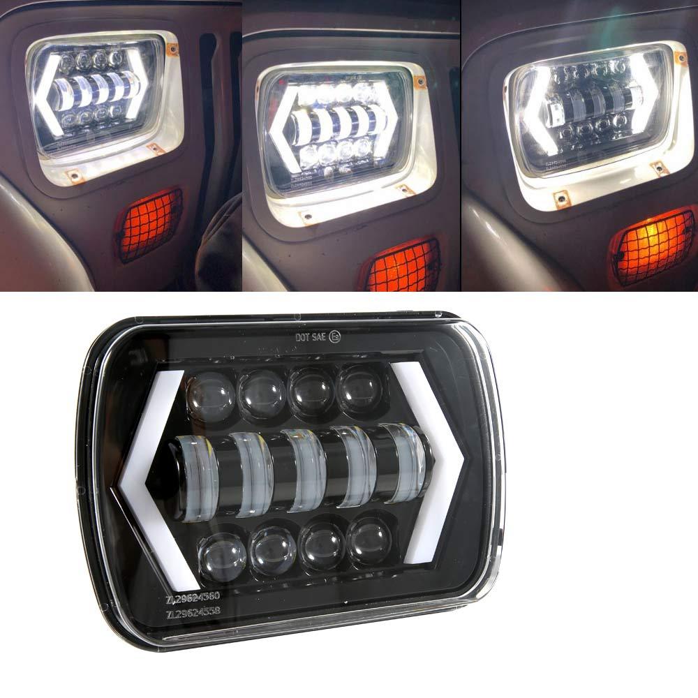 1 pieza 5x7 7x6 pulgadas de Ojos de Ángel DRL H4 LED cuadrado faros para Jeep Wrangler YJ Cherokee XJ Comanche MJ rectángulo Led faro