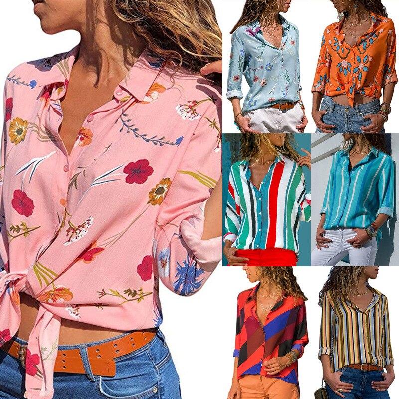 2021 Ladies Fashion Dress Casual Printed V-neck Long Sleeve Chiffon Shirt Ladies T-shirt Shirt