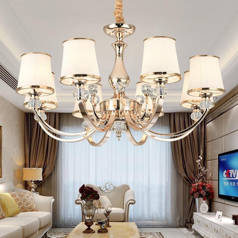 Хрустальная люстра с хромированным покрытием, светодиодная лампа e14 золотого цвета для гостиной, спальни, современной столовой, установка о...