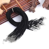 10pcslot 1 5mm black waxed necklace cord chain with lobster clasp extended chain diy jewelry making for pendant necklace