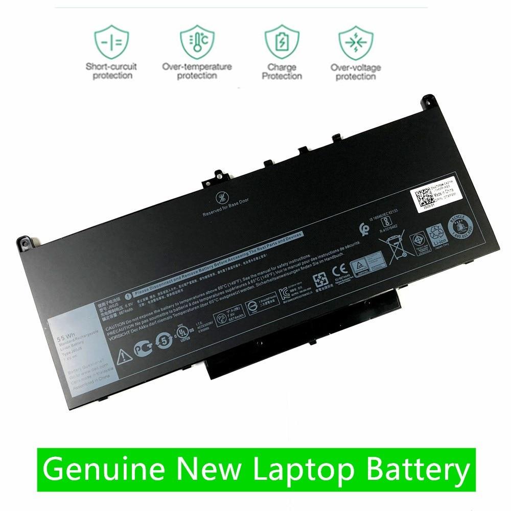 7.6V 55Wh New J60J5 Genuine Laptop Battery For Dell Latitude E7270 E7470 E7260 7270 7470  J6OJ5 R1V85 MC34Y 242WD