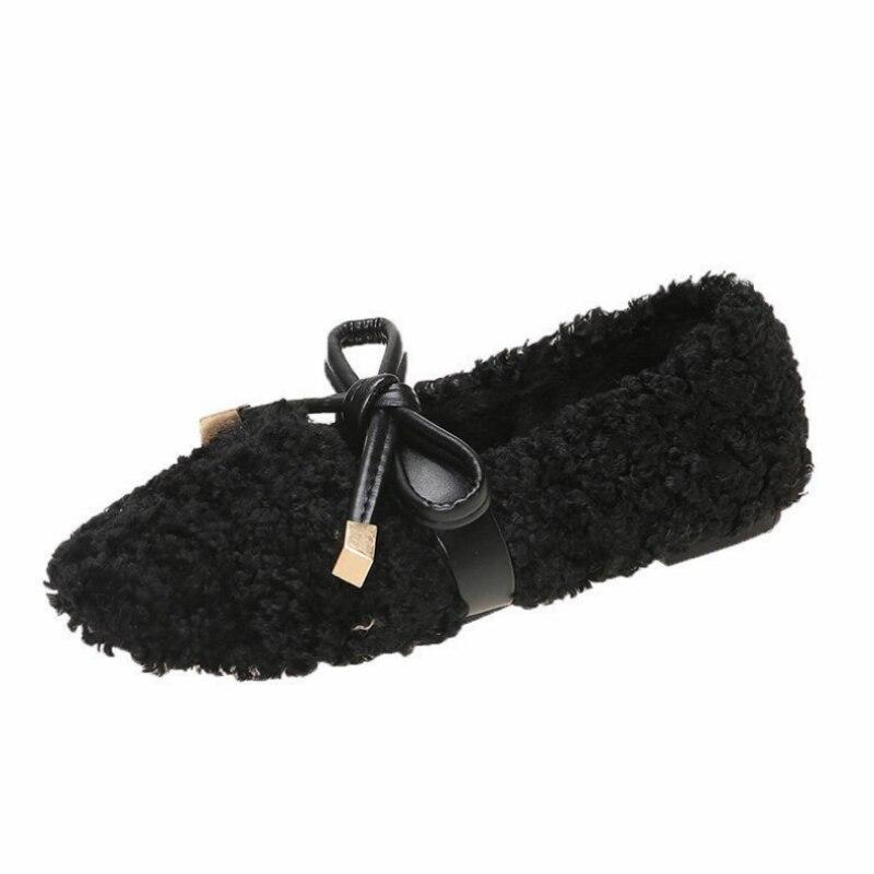 جديد وصول موضة فو الفراء الشتاء دوغ أحذية النساء الفراء حذاء مسطح لينة منفوش Bowknot زينت السيدات أحذية احذية نسائية