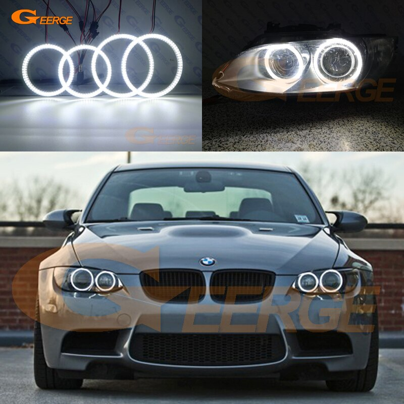 mayitr 2pcs set 2 120w 240w h8 angel eyes marker led chips light bulb 8000lm white lamp for bmw 1 3 5 series e82 coupe e90 e92 For BMW 3 Series E90 E91 E92 E93 M3 Coupe cabriolet xenon HD Ultra bright SMD LED Angel Eyes halo rings Day Light Car styling