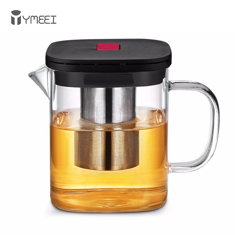 YMEEI-إبريق شاي زجاجي شفاف, إبريق شاي زجاجي شفاف مربع مقاوم للحرارة مع مصفاة مصفاة الشاي ، غلاية الشاي ، كوب مكتب