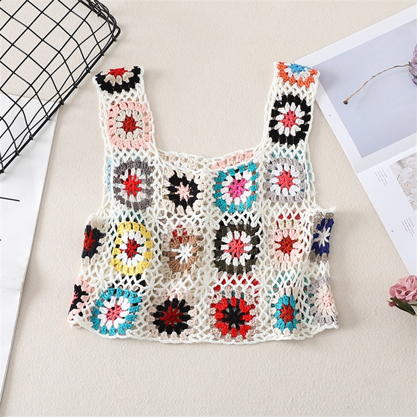 2021 New Boho Retro Crochet Tank Tops Summer Beach Top Women Sleeveless Sexy Knitted Cropped Holiday Beachwear Camis Mujer
