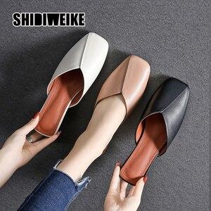 2020 Fashion Square Toe Mules Women Summer Flats Slip-on Holiday Ladies Sandals Slides Genuine Leather Women Shoes va308