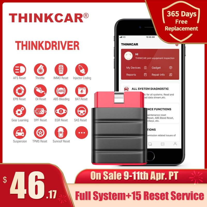 aliexpress.com - Thinkcar Thinkdriver Bluetooth OBD2 Scanner Automotive OBD 2 IOS Car Diagnostic Tool Code Reader OBD Android Scanner pk thinkdia