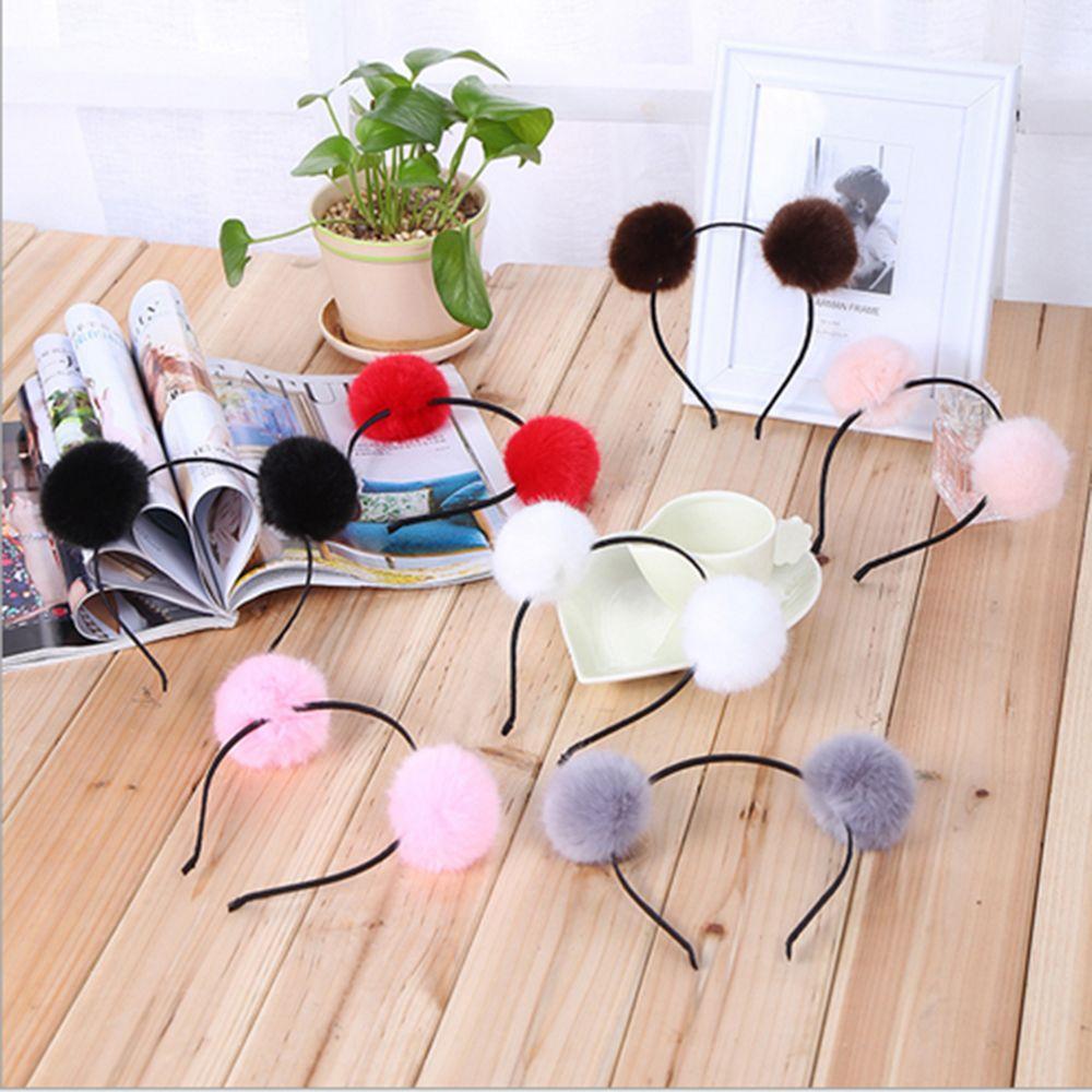 Moda Doce Suave Bola De Pêlo Pompom Peludo Orelhas Bonito Bola de Pêlo de Coelho Fofo Cabeça Hairband Acessórios Para o Cabelo Bonito Da Menina Das Mulheres