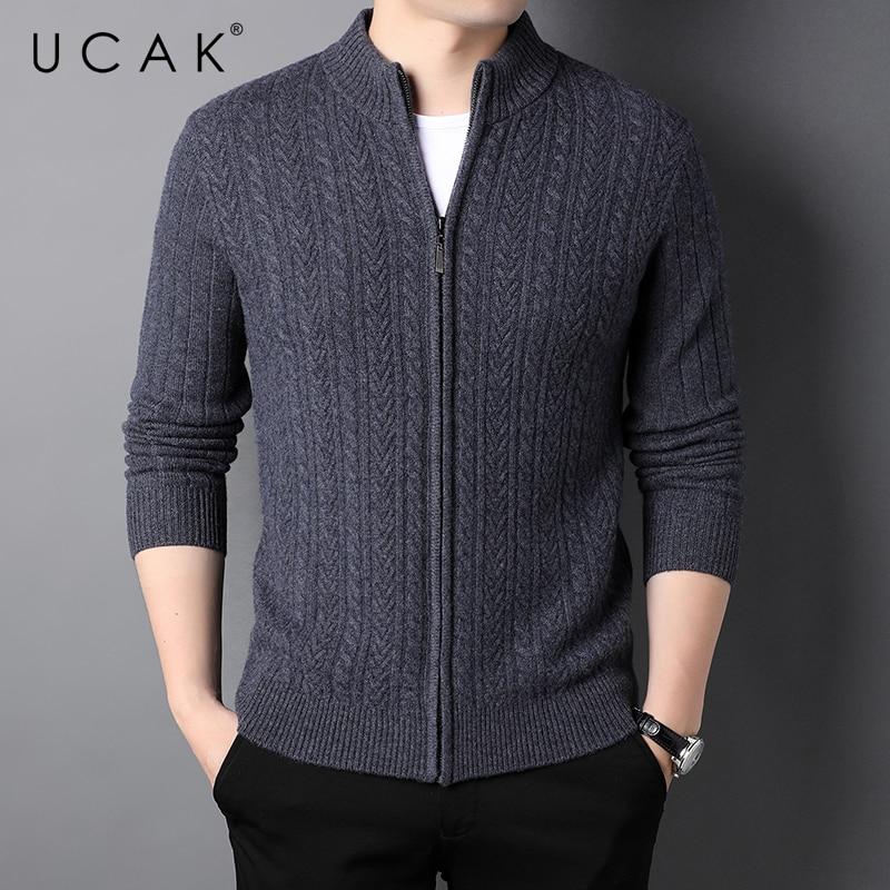 UCAK Brand Classic Casual Pure Wool Cardigans Men Sweatercoat Clothing Streetwear Solid Color Cardigan Male Pull Homme U1378