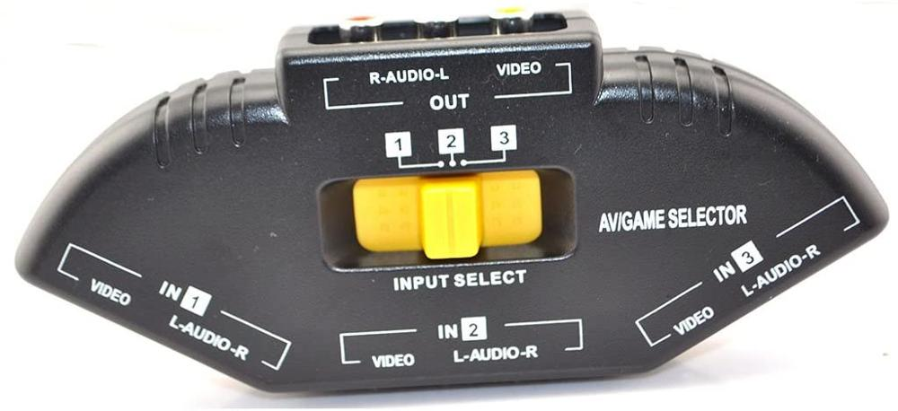 Audio Video RCA 3 Port Way Selector Switcher with AV Cable enlarge