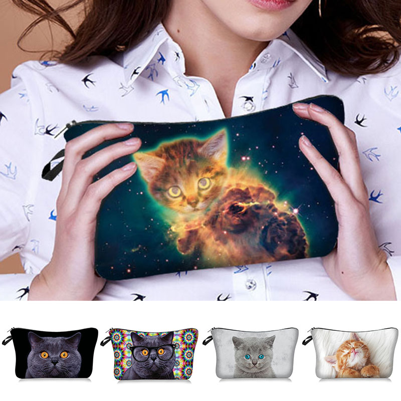 Cosmetic Bag Cute Cat Printing Polyester Makeup Bag Travel Toiletry Tool Cute Organizer Bag Pouch 3D