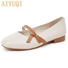 AIYUQI Women's Loafers Genuine Leather 2021 New Large Size Women Shoes Square Toe Shallow Mouth Fash