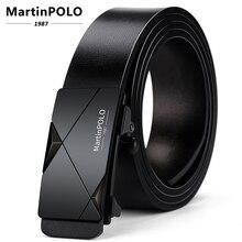 Cinturón automático de cuero genuino para hombre de Martinpolo con hebilla de aleación sin dientes cinturones de diseñador fajines negros Casual MP02401P