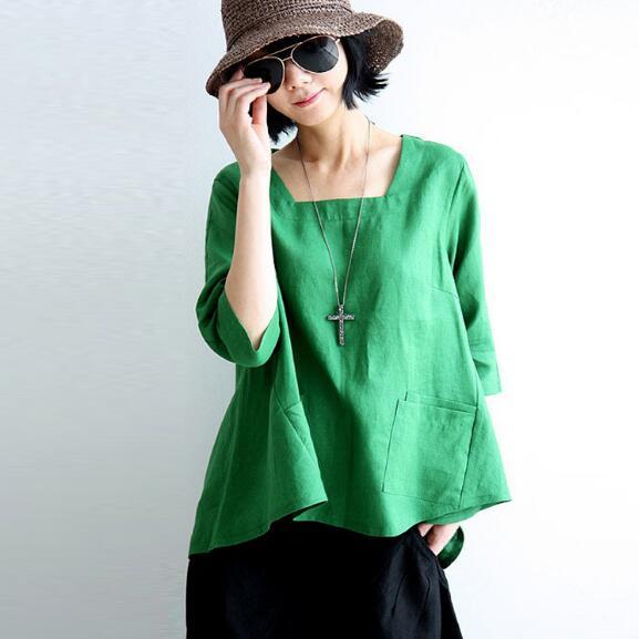 2020 new Solid Green Plus size Linen Women Blouses Shirts winter Loose Casual Blouse Shirt Oversized Women Linen blusas AH170