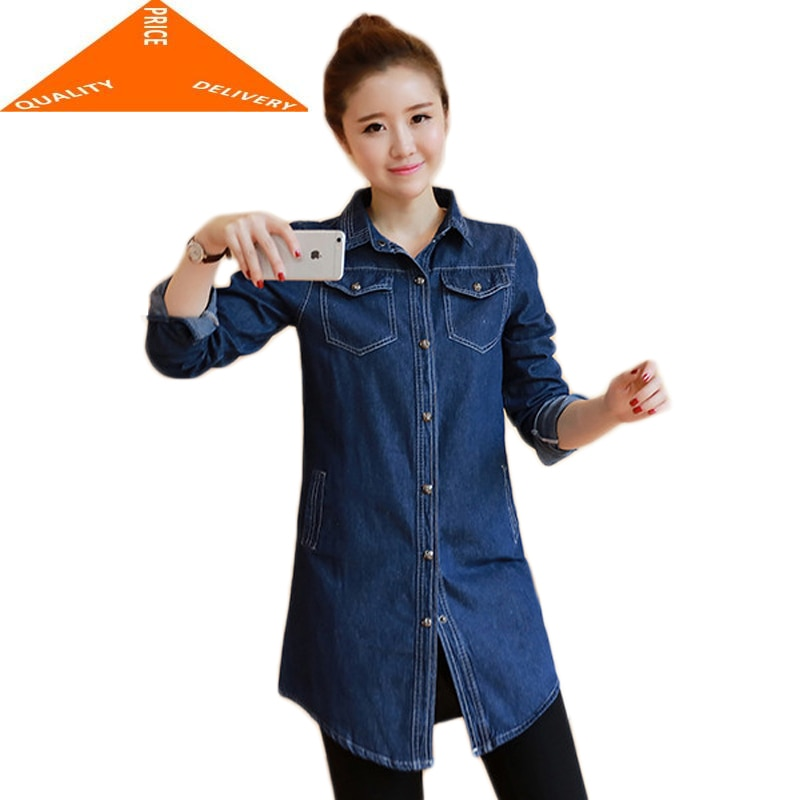 Lo más nuevo de Corea del 2020 camisa de mezclilla para mujeres en la moda de primavera tamaño Jumbo manga larga Show Thin Coat S-3XL LJJ900