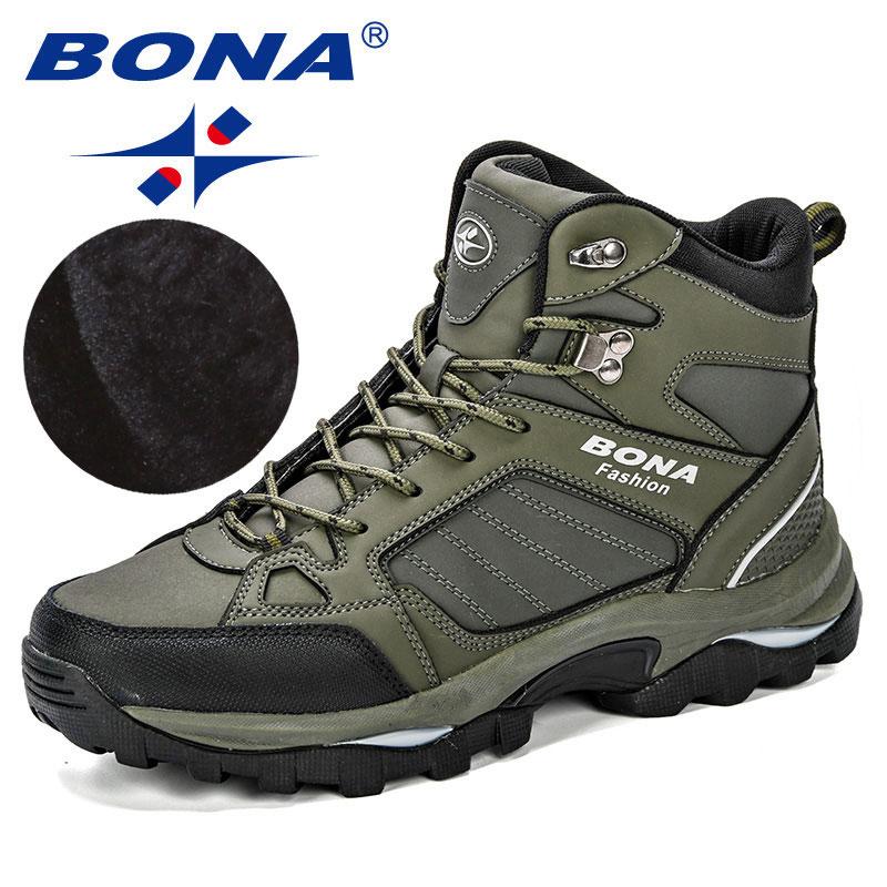 BONA hommes bottes anti-dérapant en cuir chaussures hommes populaire confortable printemps automne hommes chaussures courtes en peluche neige bottes semelle extérieure Durable