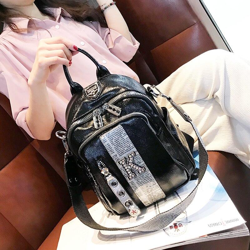 Luxury Ita Diamond Women's Backpack Letter Print Mochila Femenina Designer Travel Sac A Dos School Mini Bolsa Feminina