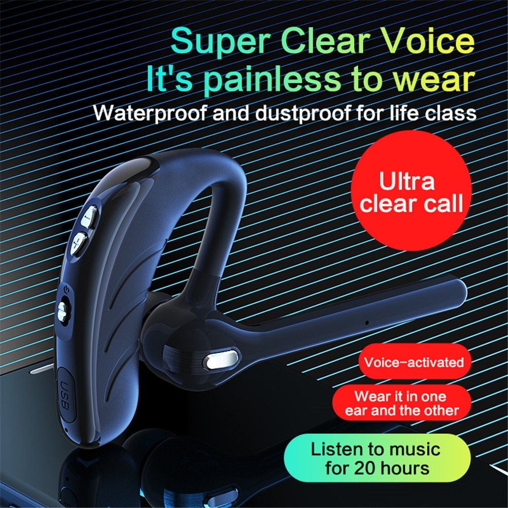 v8 Single Ear Headset with Mic Bluetooth5.1 Earphone Noise Cancelling Waterproof Earpiece Wireless Handsfree Long Standby Time