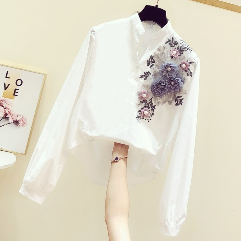 2021 Spring New Women's Embroidered Floral V-neck Long Sleeve Shirt Female Casual Irregular All-Match White Blouse Blusas floral embroidered high low blouse