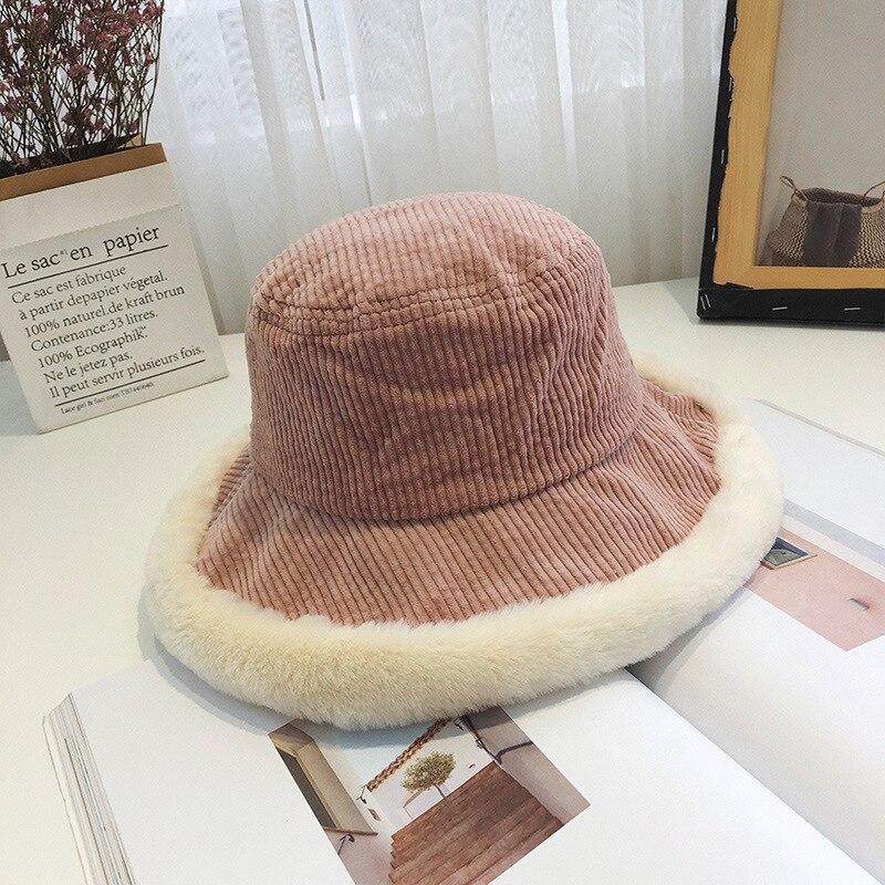 Sombrero de mujer de invierno de pana sombrero de cubo Harajuku elegante gran ala ancha empalme de algodón de felpa Panamá sombrero japonés coreano sombreado sombrero