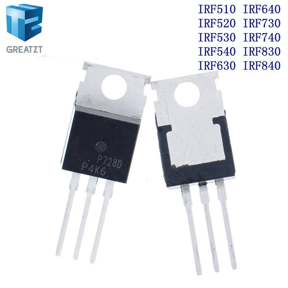 GREATZT 10 Uds IRF510 IRF520 IRF530 IRF540 IRF630 IRF640 IRF730 IRF740 IRF830 IRF840 Transistor-220 TO220