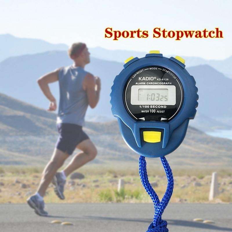 Cronómetro deportivo LCD de mano profesional Digital multifunción de precisión de 1/100 segundos con diseño