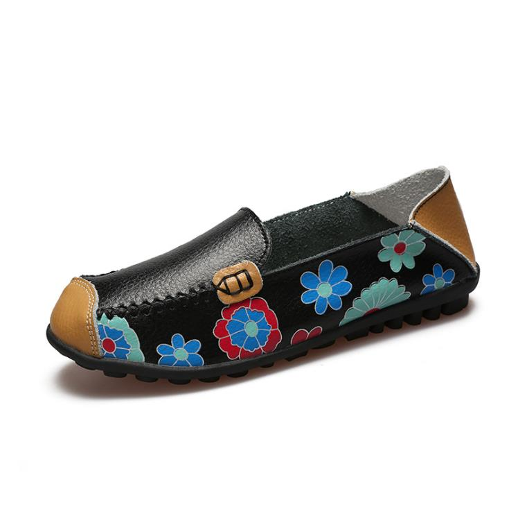 جلد زهور مطبوعة أحذية النساء موضة مريحة لينة أسفل حذاء نسائي كاجوال 1063