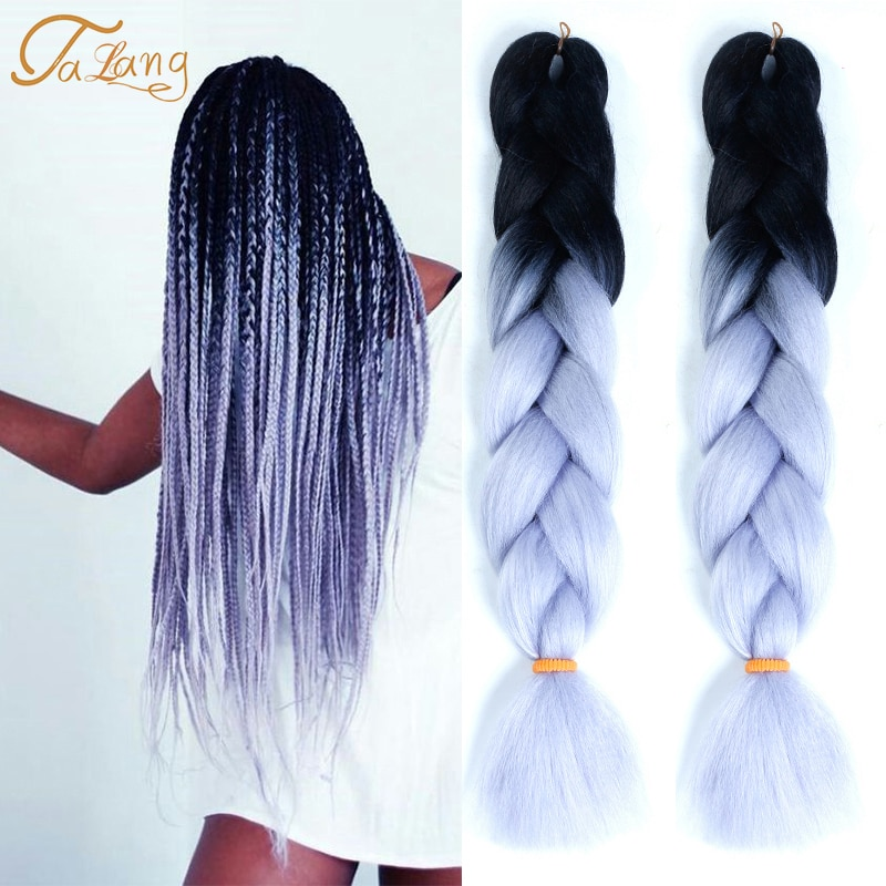 TALANG Jumbo Braids Kanekalon Ombre Crochet Synthetic Braiding Hair 24 inches Pink Hair Extention Wo