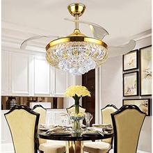 Modern 42 lüks kristal tavan vantilatörü uzaktan kumanda ile görünmez akrilik Fan kanatları geri çekilebilir Fan lambası avize