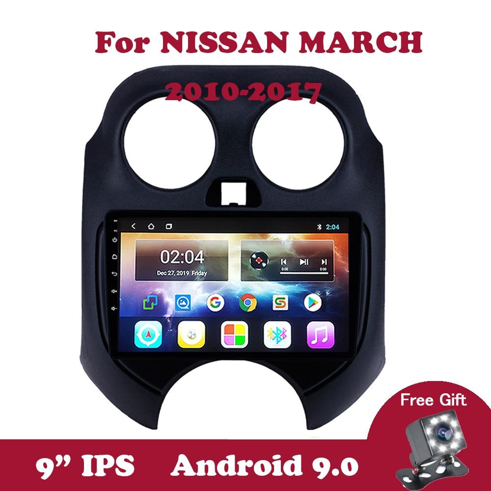 "Android 9.0 para nissan march 2010 2011-2017 9 ""polegadas ips rádio do carro 2din gps multimídia player navegação 2.5d 4 núcleo dvd dvr obd"