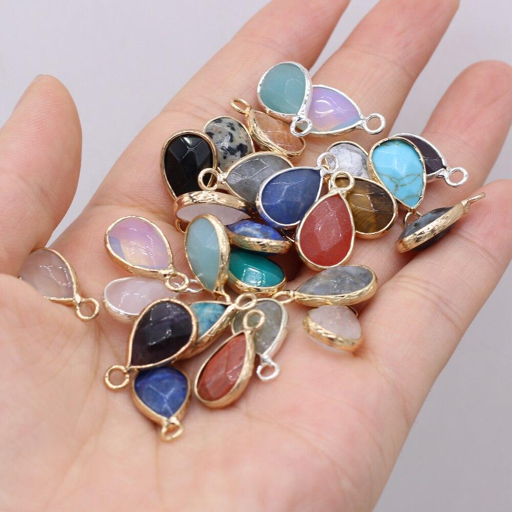 Новый кулон из полудрагоценного камня из натурального камня, изысканный кулон в форме капли с позолоченным краем для изготовления ожерелья...