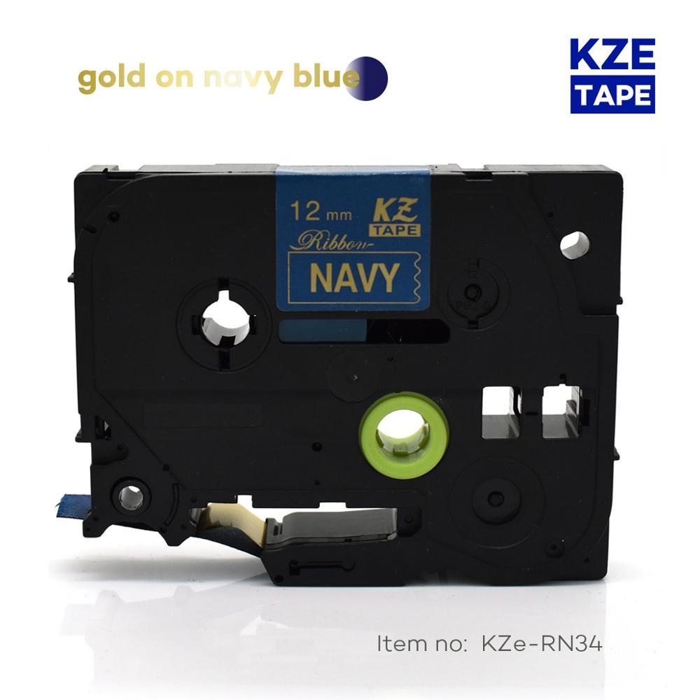 12mm * 4m Tze-RN34 dorado en azul marino TZe cinta satinada cinta para hermano p-touch cinta impresora tz-RN34 tze RN34 TZ-RN34