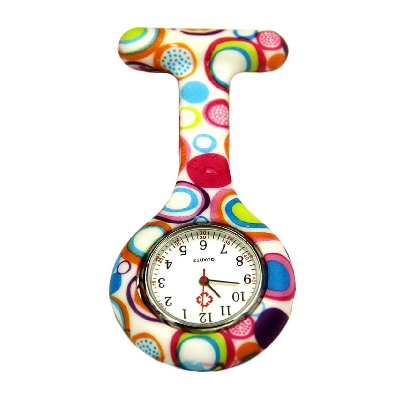Colored Circles Nurse Clip-on Fob Brooch Pendant Hanging Pocket Watch Small And Portable Watch Women