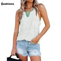 cashiona plus size women elegant leisure casual tank top patchwork womens top 2021 summer sleeveless tees clothing femme 5xl